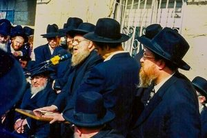 Rav Avraham Chaim Feuer being maspid (2)